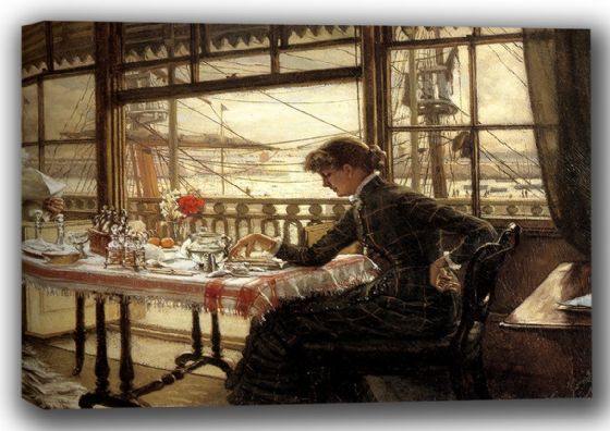 Tissot, James Jacques Joseph: Room Overlooking The Harbour. Fine Art Canvas. Sizes: A4/A3/A2/A1 (001638)